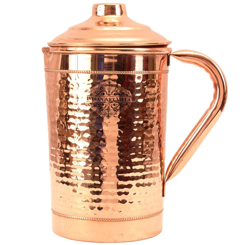 Copper Hammered Jug with 2 Rings Serving Water 1800 ML Jugs CC-17