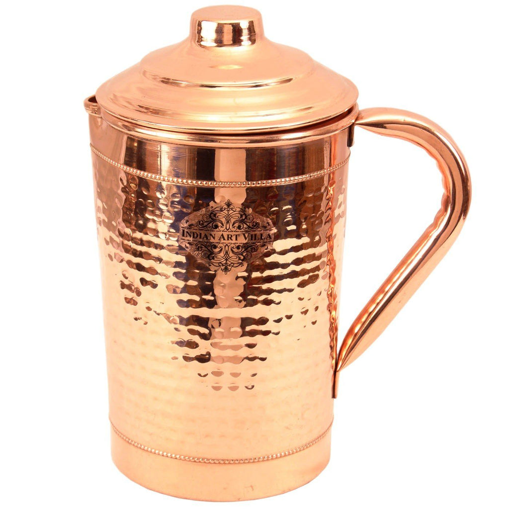 Copper Hammered Jug with 2 Rings Serving Water 1800 ML