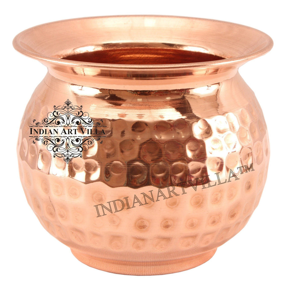 Copper Hammered Lota Container 23 Oz Copper Lota Indian Art Villa