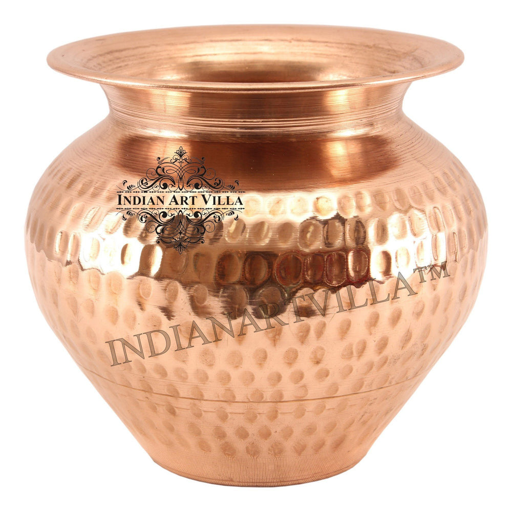 Copper Hammered Lota Container 33 Oz Copper Lota Indian Art Villa