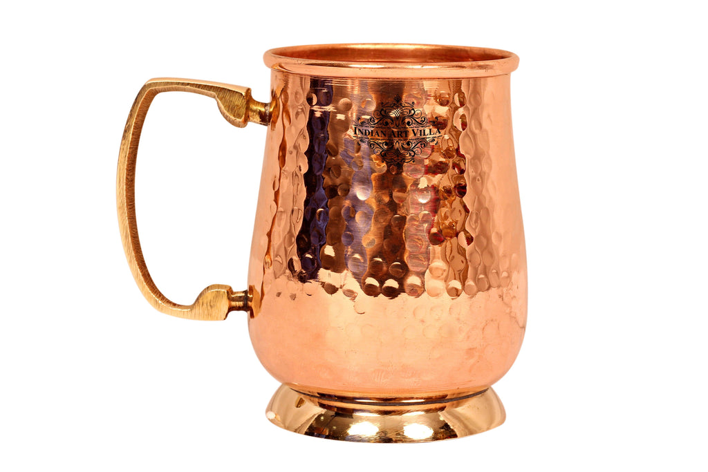Copper Hammered Mug with Brass Handle & Bottom 600 ML