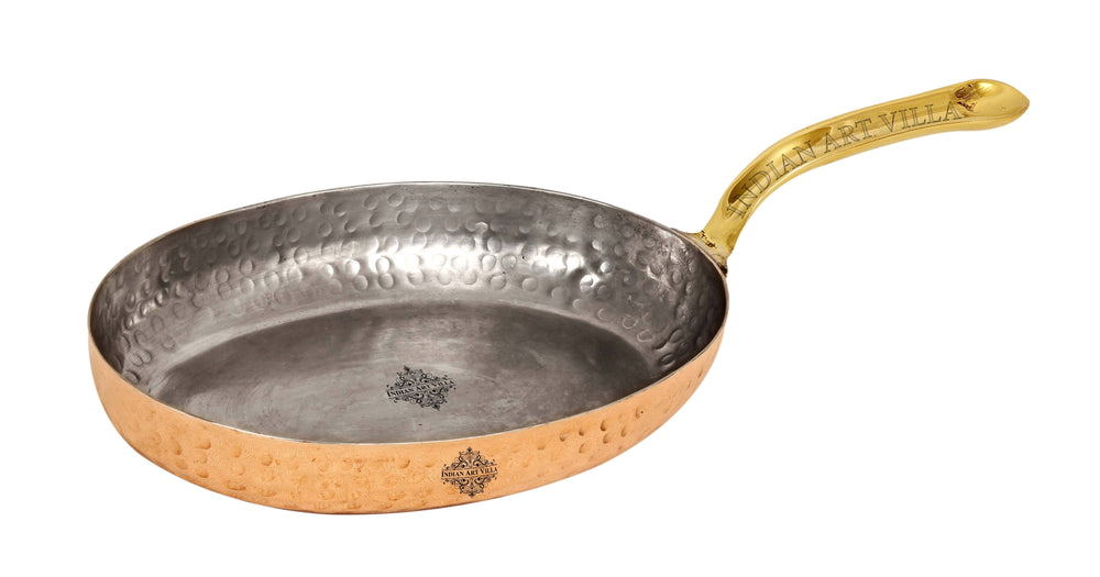 "Copper Hammered Oval Pan Inside Tin Lining with Brass Handle - 5"" Inch Width Pans CC-17"