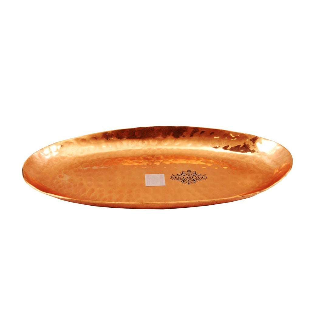 Copper Hammered Oval Tray|Serving Coffee Tea Dishes