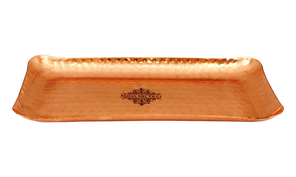 Copper Hammered Rectangular Serving Tray Plate