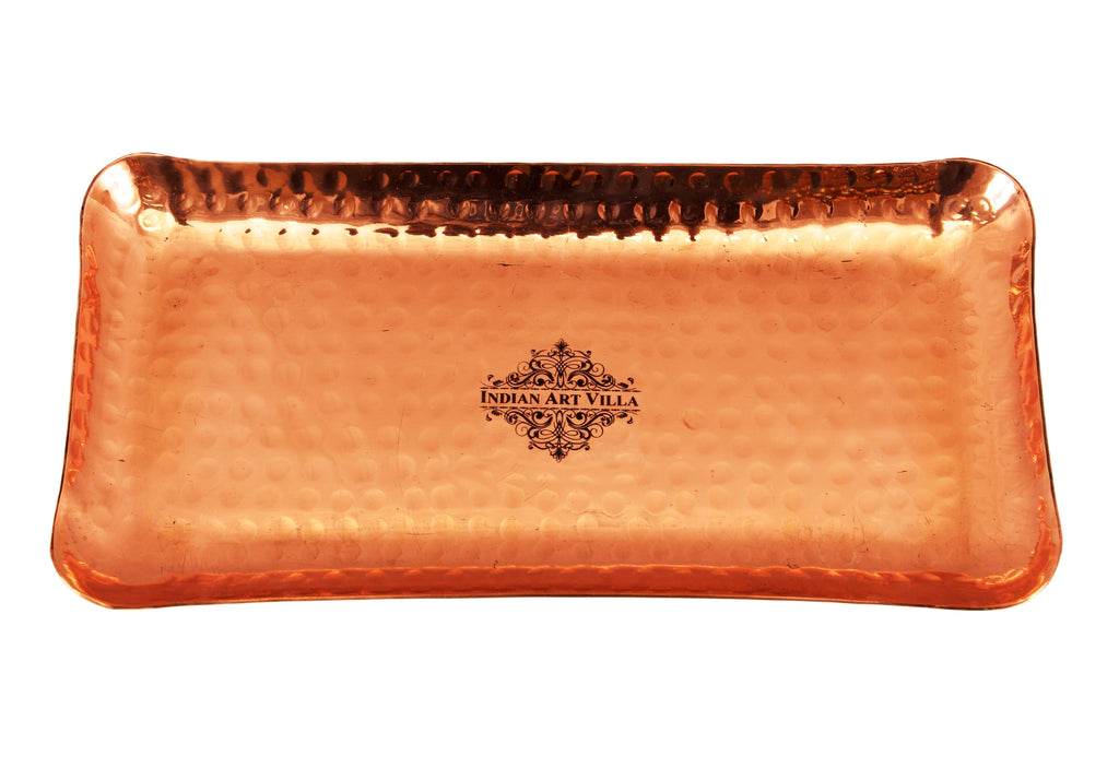 Copper Hammered Rectangular Serving Tray Plate Tray CC-5