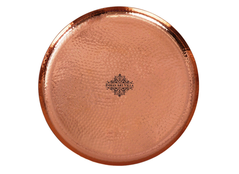 Copper Hammered Round Serving Tray Plate - Home Hotel Restaurant Tray CC-5
