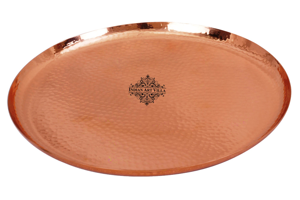 Copper Hammered Round Serving Tray Plate - Home Hotel Restaurant