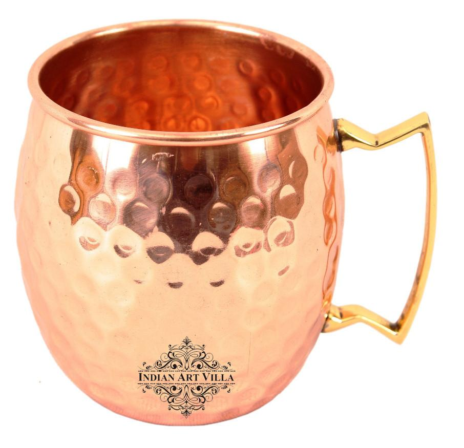 Copper Hammered Set of 2 Moscow Mule Beer Mug Cups | 530 ML each | with 1 Tray Platter Copper Ware Bar Ware Combo Indian Art Villa