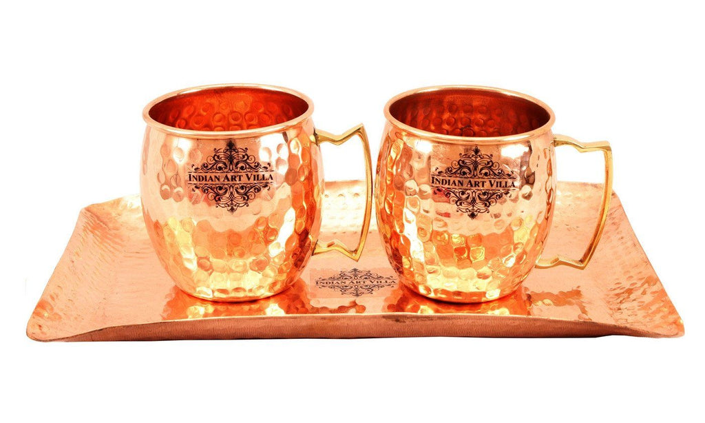 Copper Hammered Set of 2 Moscow Mule Beer Mug Cups | 530 ML each | with 1 Tray Platter