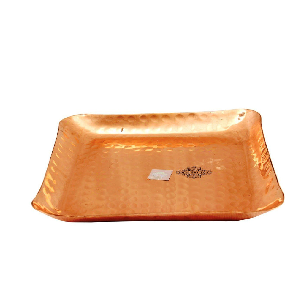 Copper Hammered Square Tray|Serving Coffee Tea Dishes Tray CC-5
