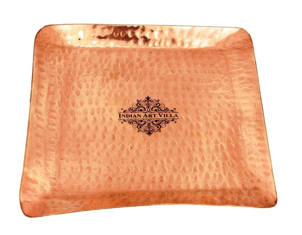 Copper Hammered Square Tray|Serving Coffee Tea Dishes