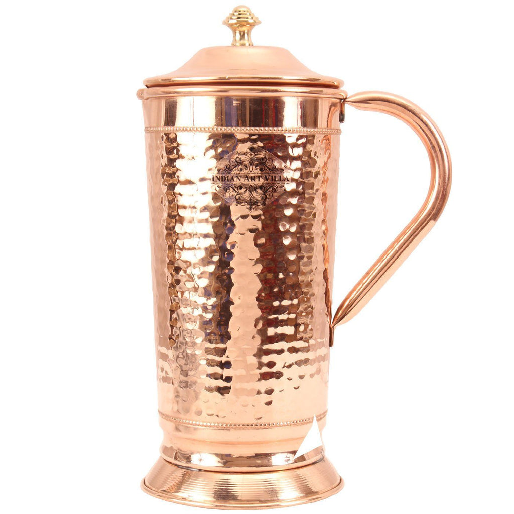 Copper Hammered Stylish Jug with Bottom 1600 ML