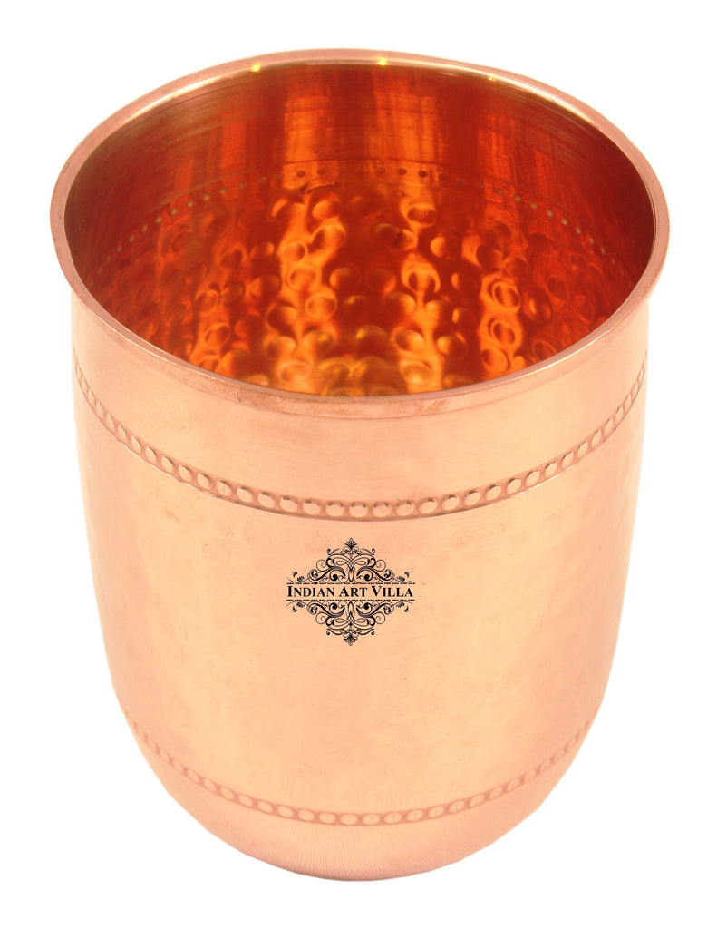 Copper Handmade Hammered Design Glass with 2 Rings 250 ML Copper Tumblers CC-10