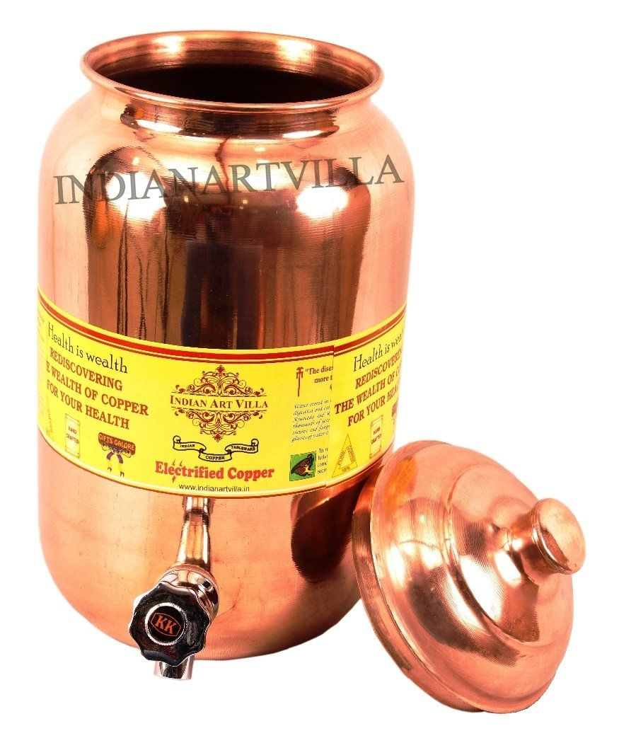 Copper Handmade Plain Design Water Pot 8 Liter Water Pots CC-1