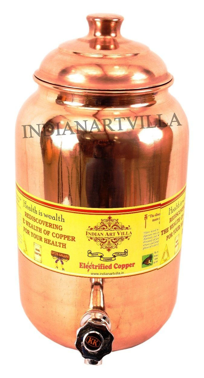 Copper Handmade Plain Design Water Pot 8 Liter