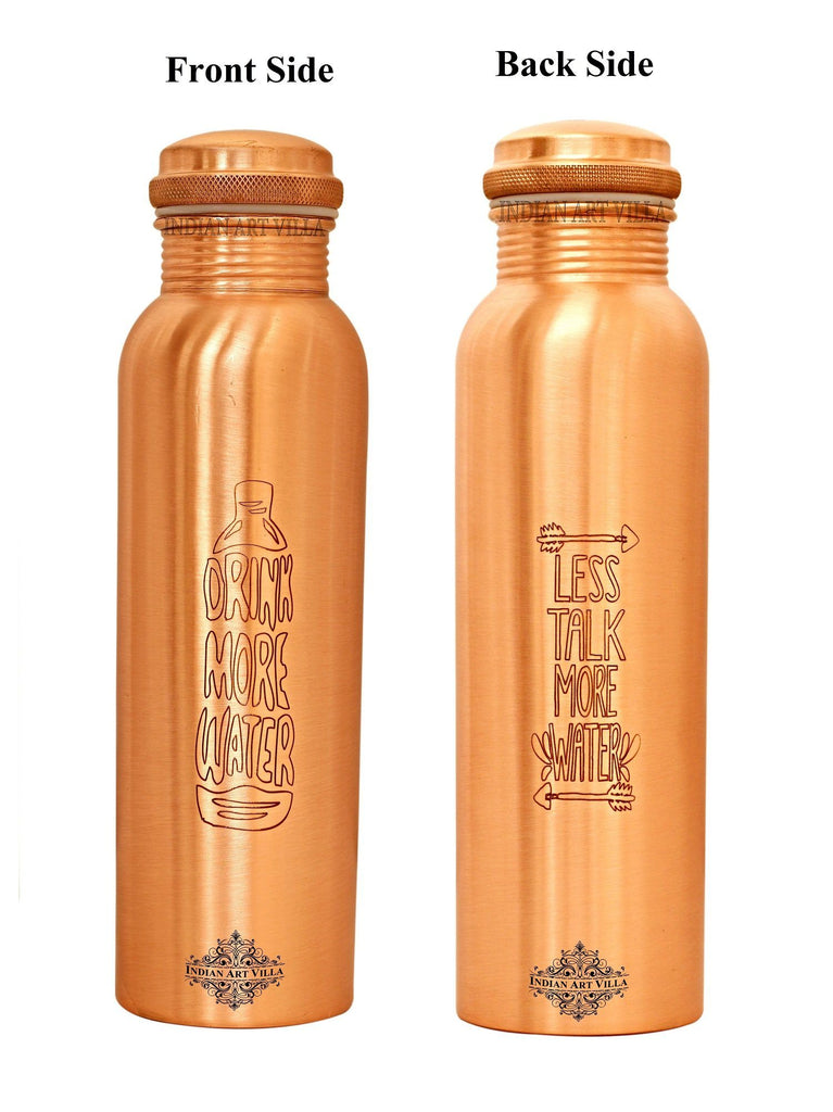 Copper Lacquer Bottle Engraved Both Side (Drink & Less Talk..)