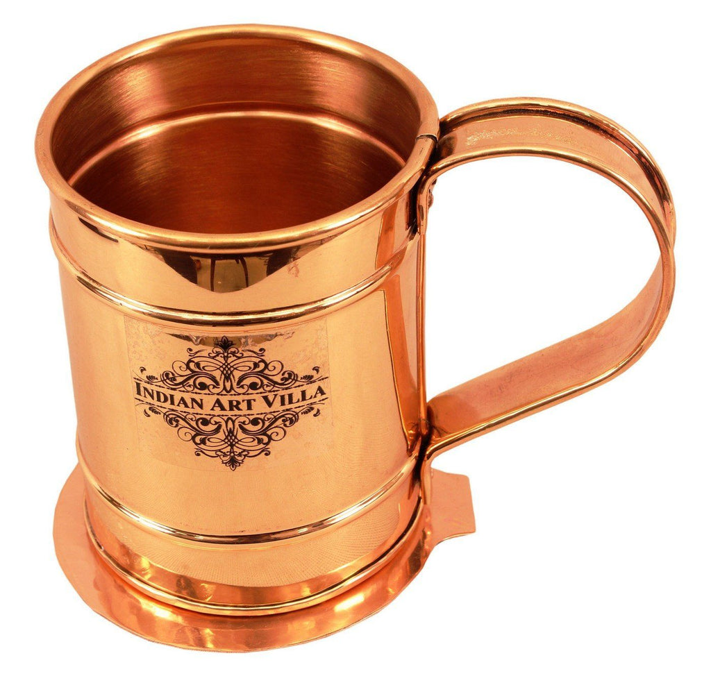 Copper Long Flate Beer Wine Mug Cup with Coaster | 500 ML