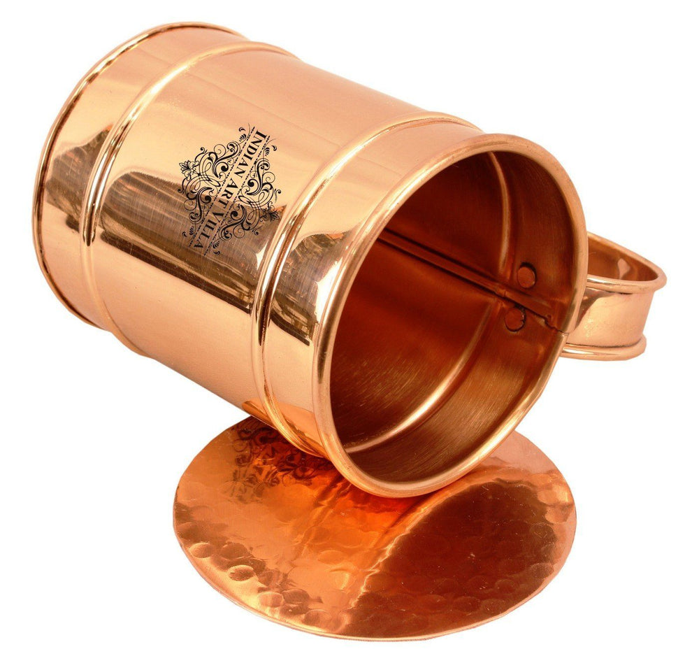 Copper Long Flate Beer Wine Mug Cup with Coaster | 500 ML Copper Ware Bar Ware Combo Indian Art Villa
