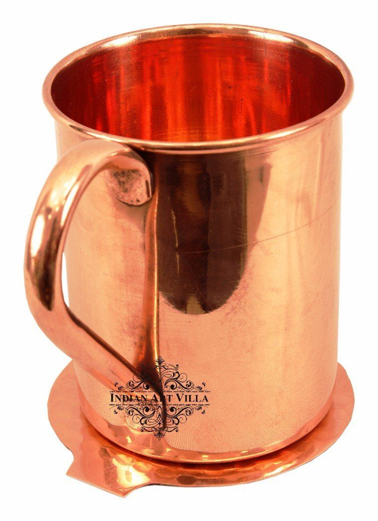 Copper Moscow Mule Beer Mug Cup 14 Oz with Coaster