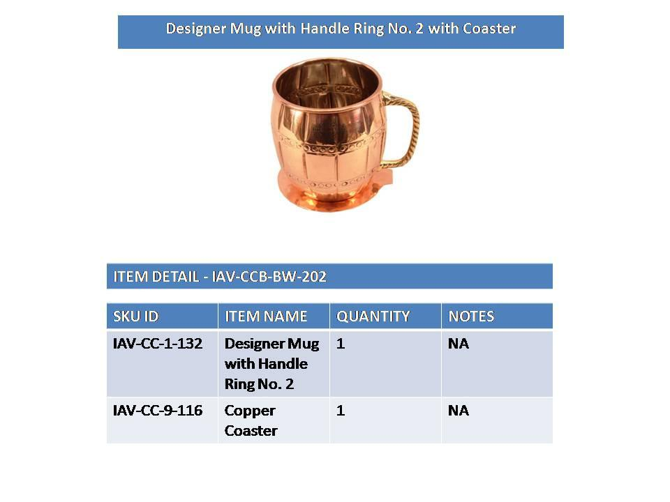 Copper Nickel Designer Beer Mug Cup with Coaster | 630 ML Copper Nickel Ware Bar Ware Combo Indian Art Villa