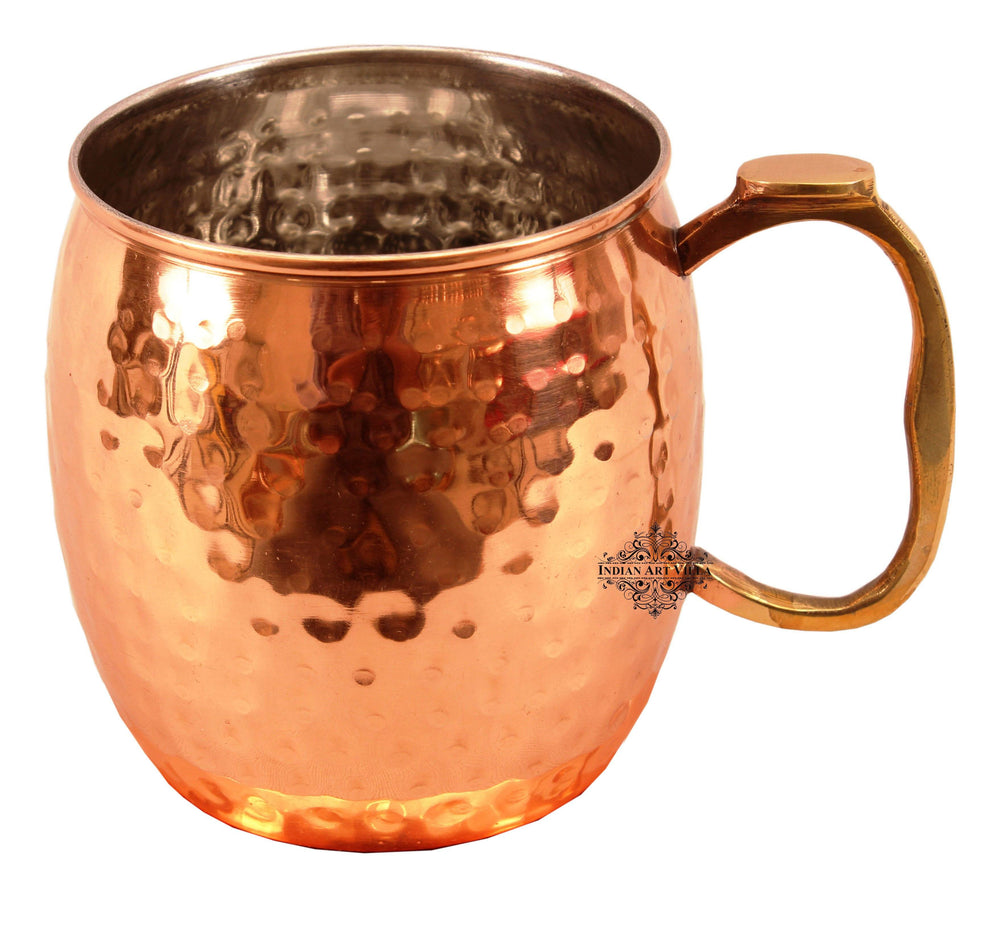 Copper Nickel Hammered Mug With Brass Thumb Design Handle