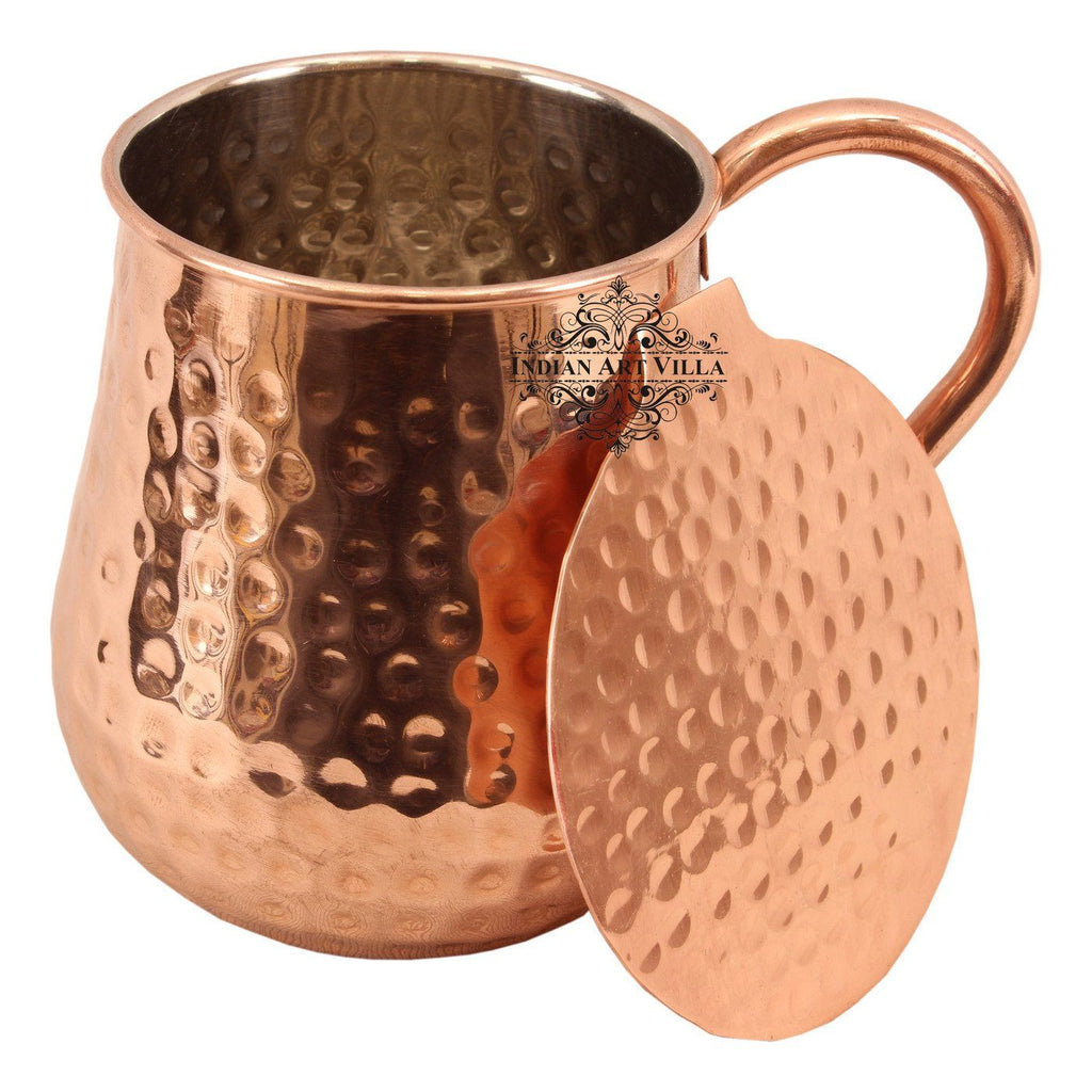 Copper Nickel Round Hammered Moscow Mule Mug Cup with Coaster | 600 ML Copper Nickel Ware Bar Ware Combo Indian Art Villa