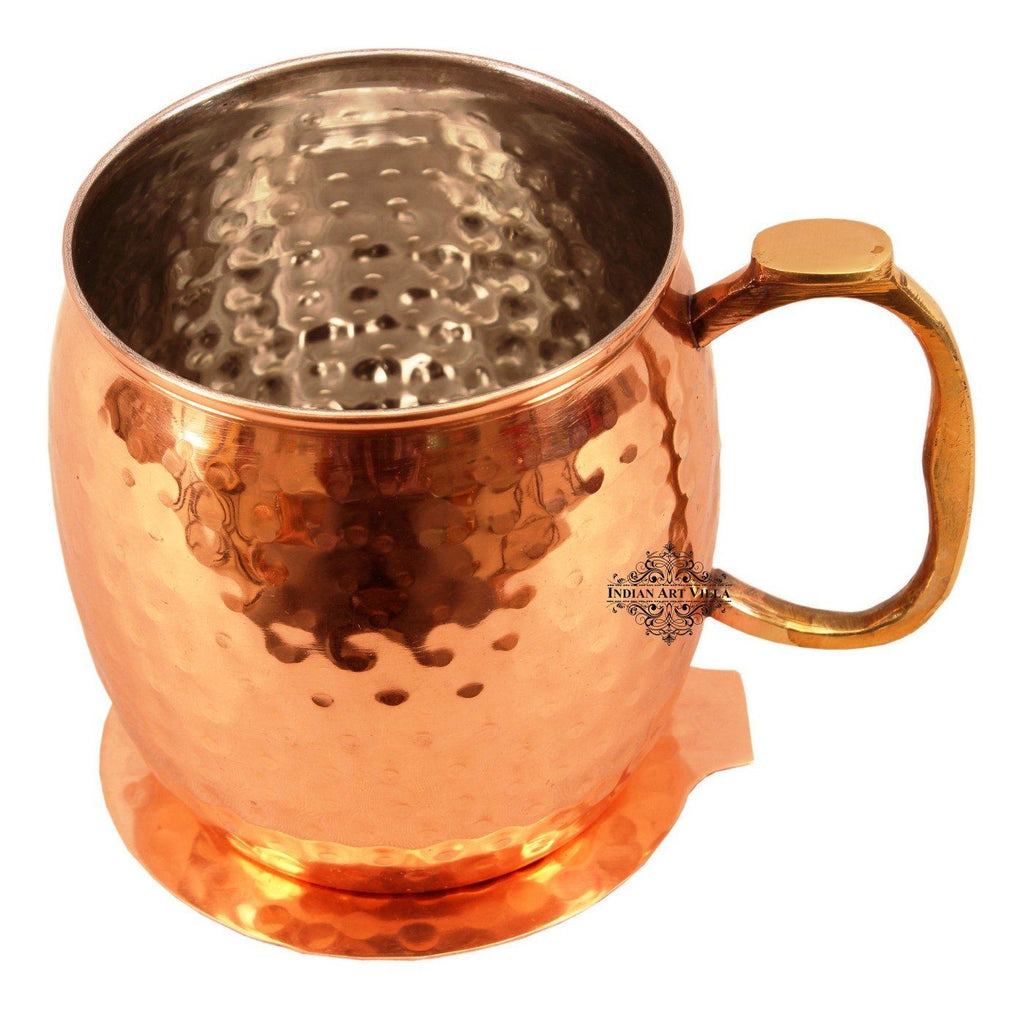 Copper Nickel Round Hammered Mug Cup with Coaster | 530 ML Copper Nickel Ware Bar Ware Combo Indian Art Villa