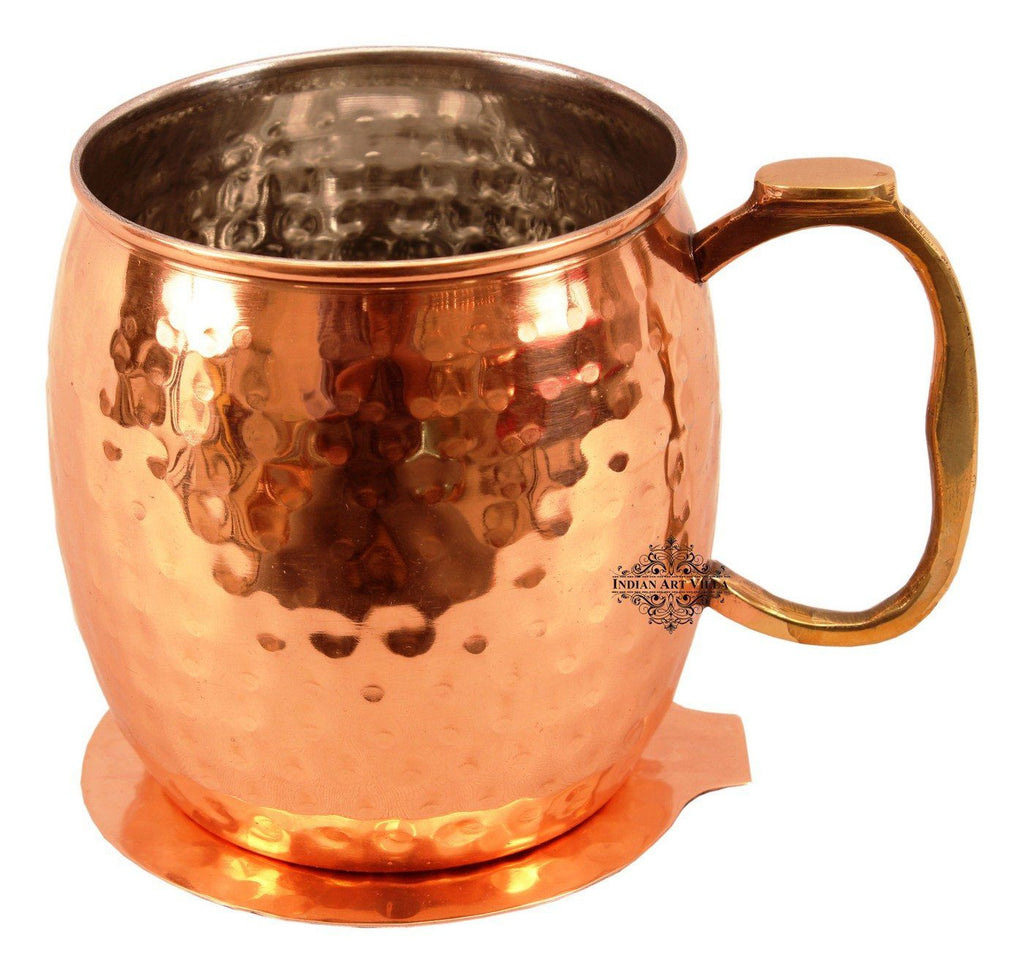Copper Nickel Round Hammered Mug Cup with Coaster | 530 ML