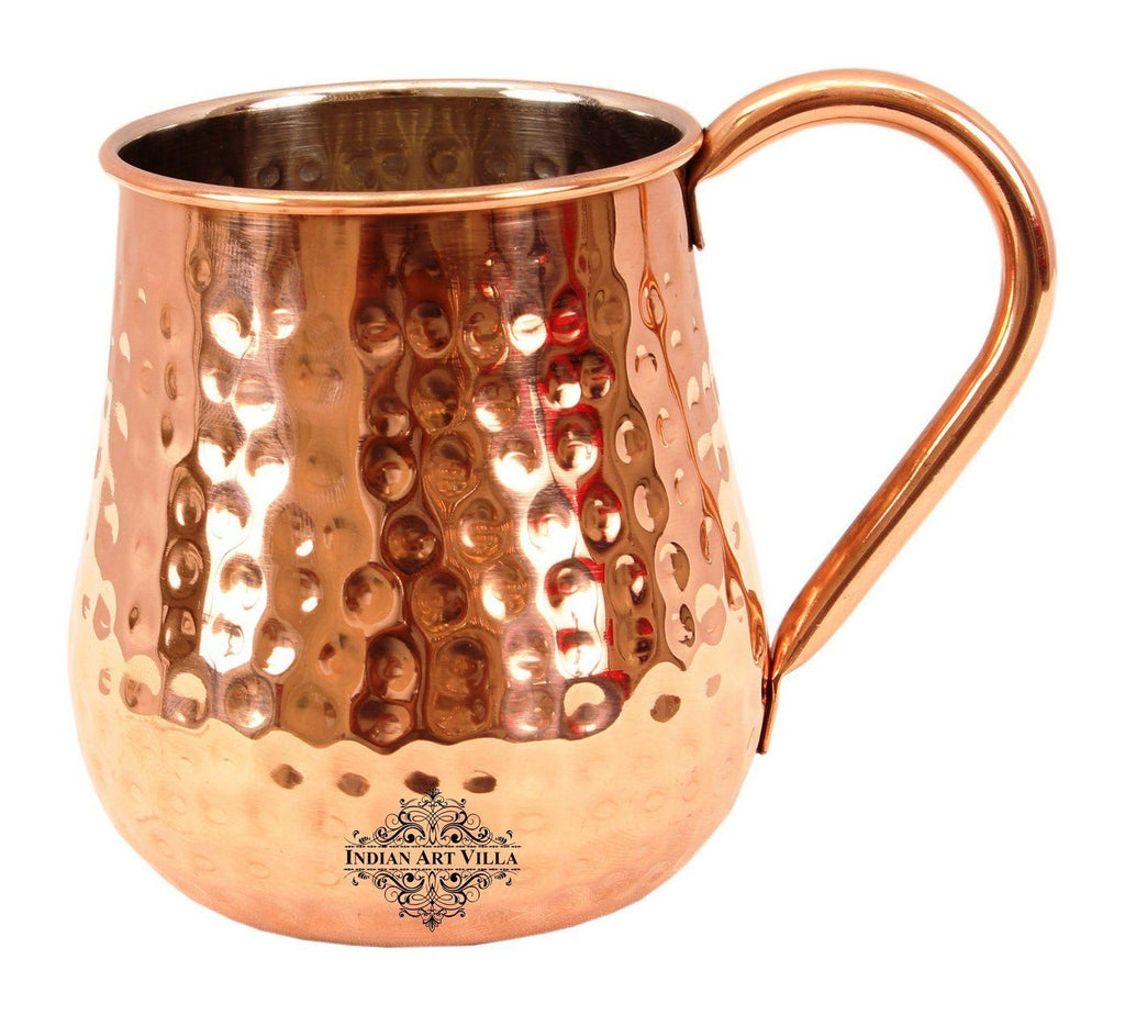 Copper Nickel Round Hammered Mug Moscow Mule 20 Oz Beer Mugs Indian Art Villa