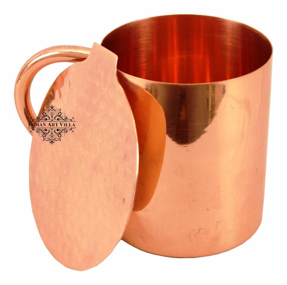 Copper Plain Mug Moscow Mule Cup 11 Oz with Coaster Coaster Beer Mugs Indian Art Villa