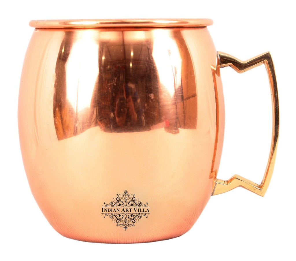 Copper Plain Mug With Brass Handle 17 Oz