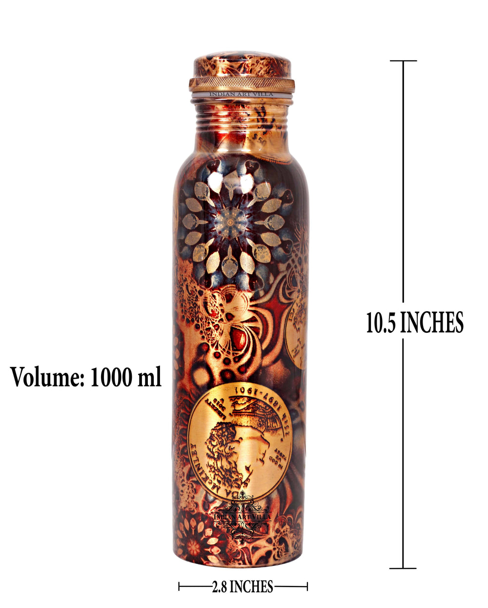 Copper Printed Flower Design Bottle, 33 Oz Bottles IAV-CC-7-130-1000