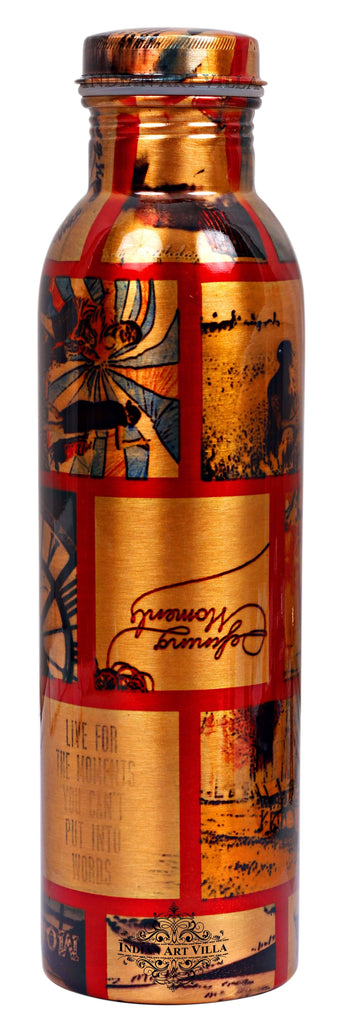Copper Printed Flower Design Bottle, 33 Oz