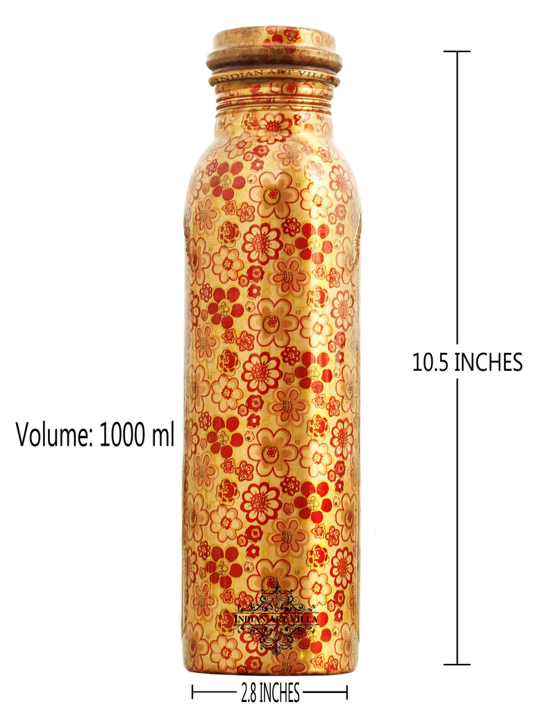 Copper Printed Flower Design Bottle, 33 Oz Bottles IAV-CC-7-141-1000