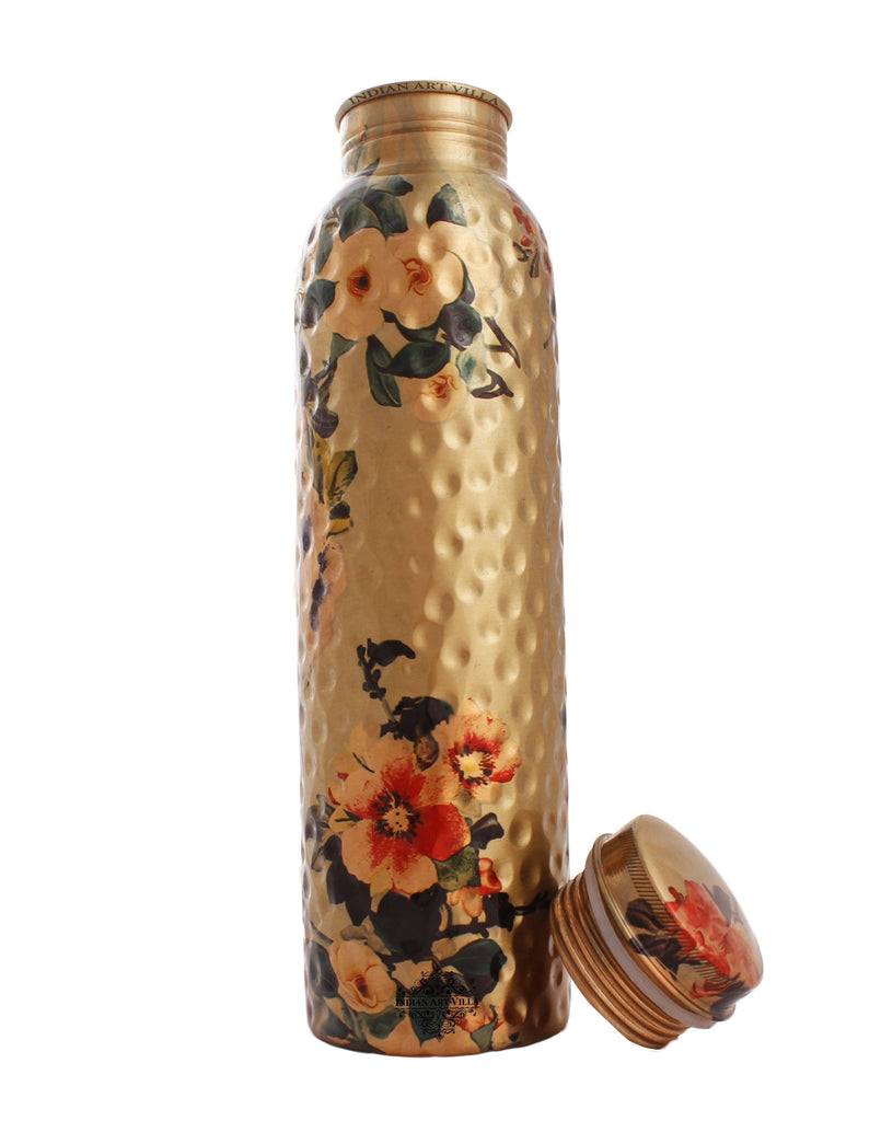 Copper Printed Hammered Flower Design Bottle, 33 Oz Bottles IAV-CC-7-137-1000