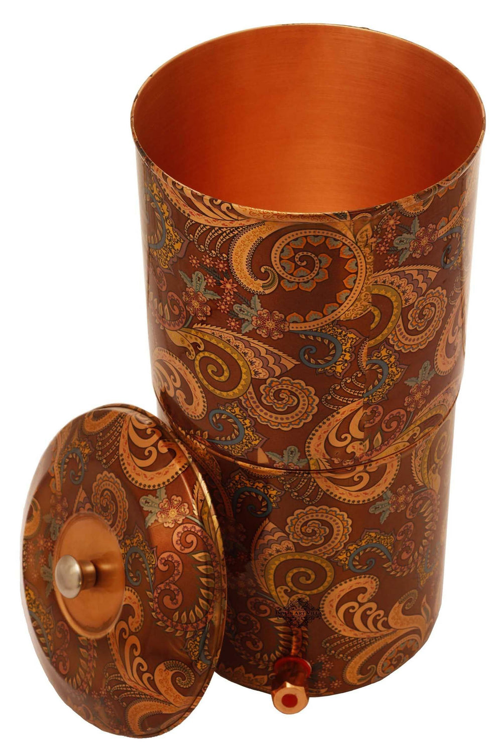 Copper Printed Paisley Design Brown Double Filter Water Pot 439 Water Pots IAV-CC-37-104-13