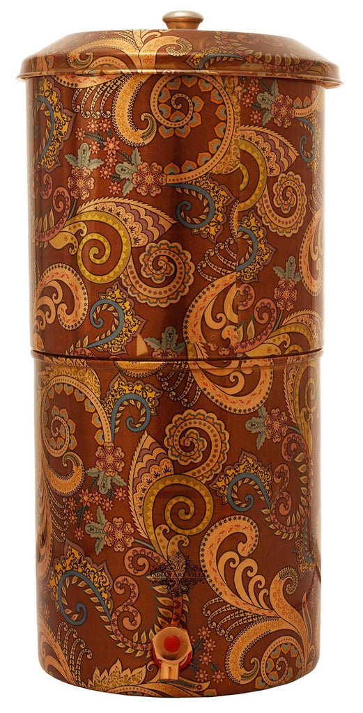 Copper Printed Paisley Design Brown Double Filter Water Pot 439