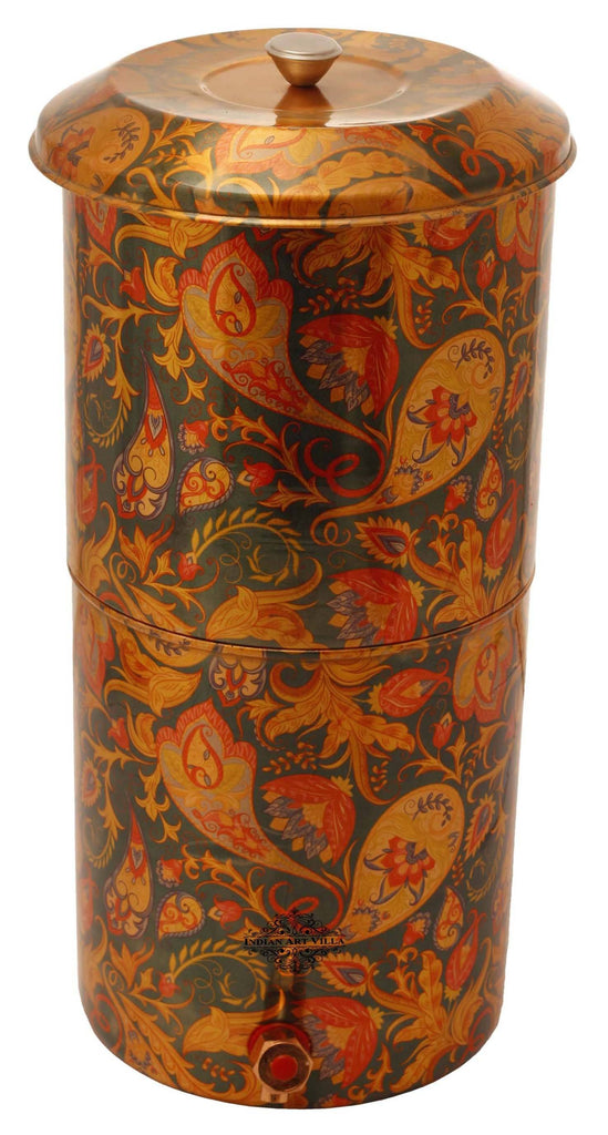 Copper Printed Paisley Design Green Double Filter Water Pot 439 Oz Water Pots IAV-CC-37-107-13