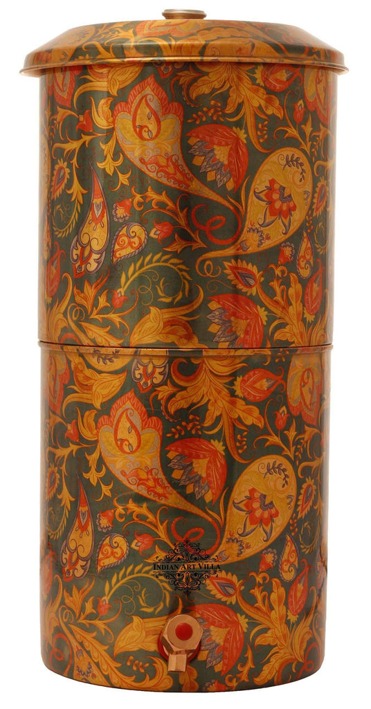 Copper Printed Paisley Design Green Double Filter Water Pot 439 Oz