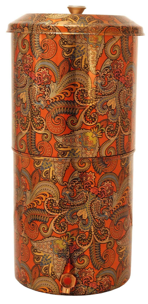 Copper Printed Paisley Design Orange Double Filter Water Pot 13 Ltr