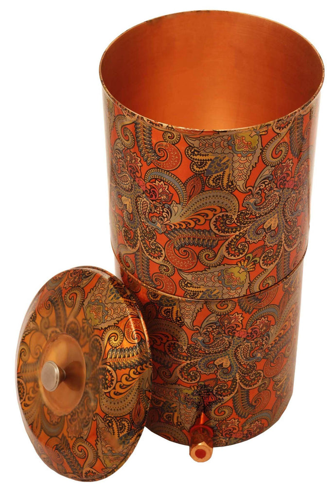 Copper Printed Paisley Design Orange Double Filter Water Pot 13 Ltr Water Pots IAV-CC-37-106-13