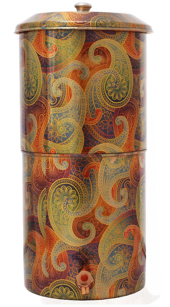 Copper Printed Paisley Design Yellow Double Filter Water Pot 439 Oz