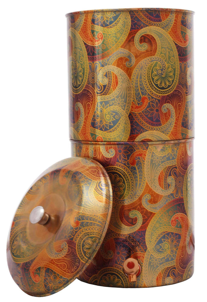 Copper Printed Paisley Design Yellow Double Filter Water Pot 439 Oz Water Pots IAV-CC-37-109-13