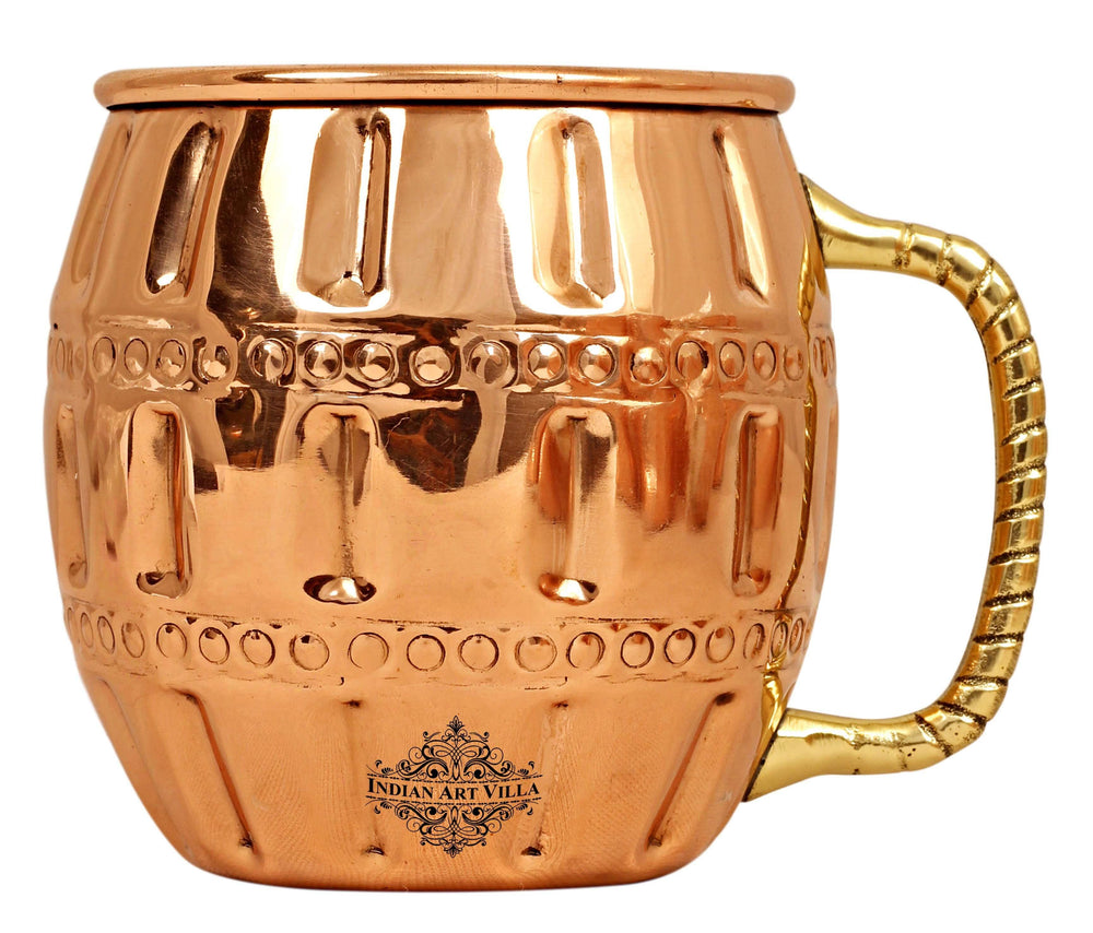Copper Round Design Muscow Mule Beer Mug (Pahaldar) - 600 ML