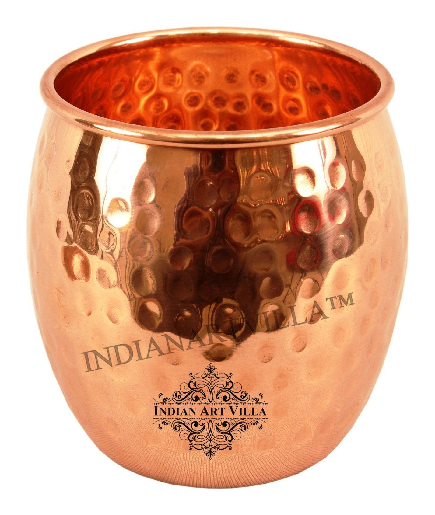 Copper Round Hammered Design Glass Tumbler 19 Oz Set of