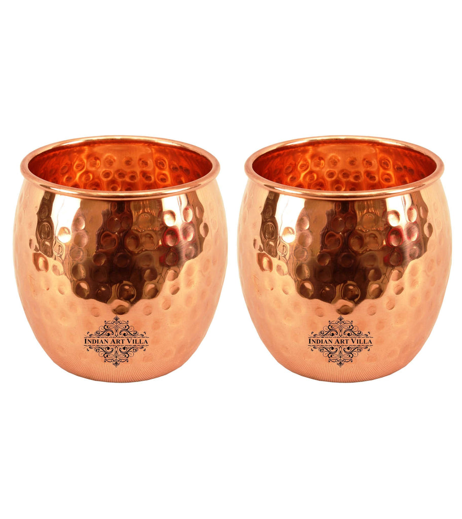 Copper Round Hammered Design Glass Tumbler 19 Oz Set of Copper Tumblers Indian Art Villa 2 Pieces