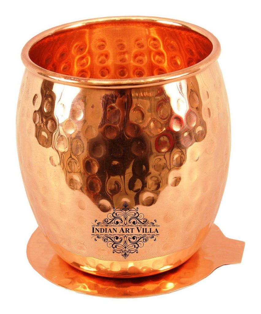 Copper Round Hammered Glass Tumbler with Coaster | 590 ML
