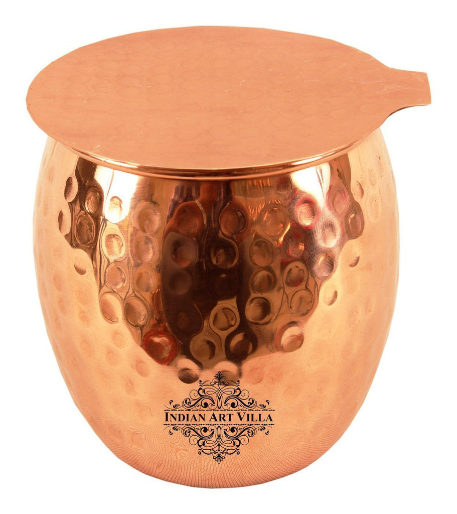 Copper Round Hammered Glass Tumbler with Coaster | 590 ML Copper Ware Drink Ware Combo Indian Art Villa