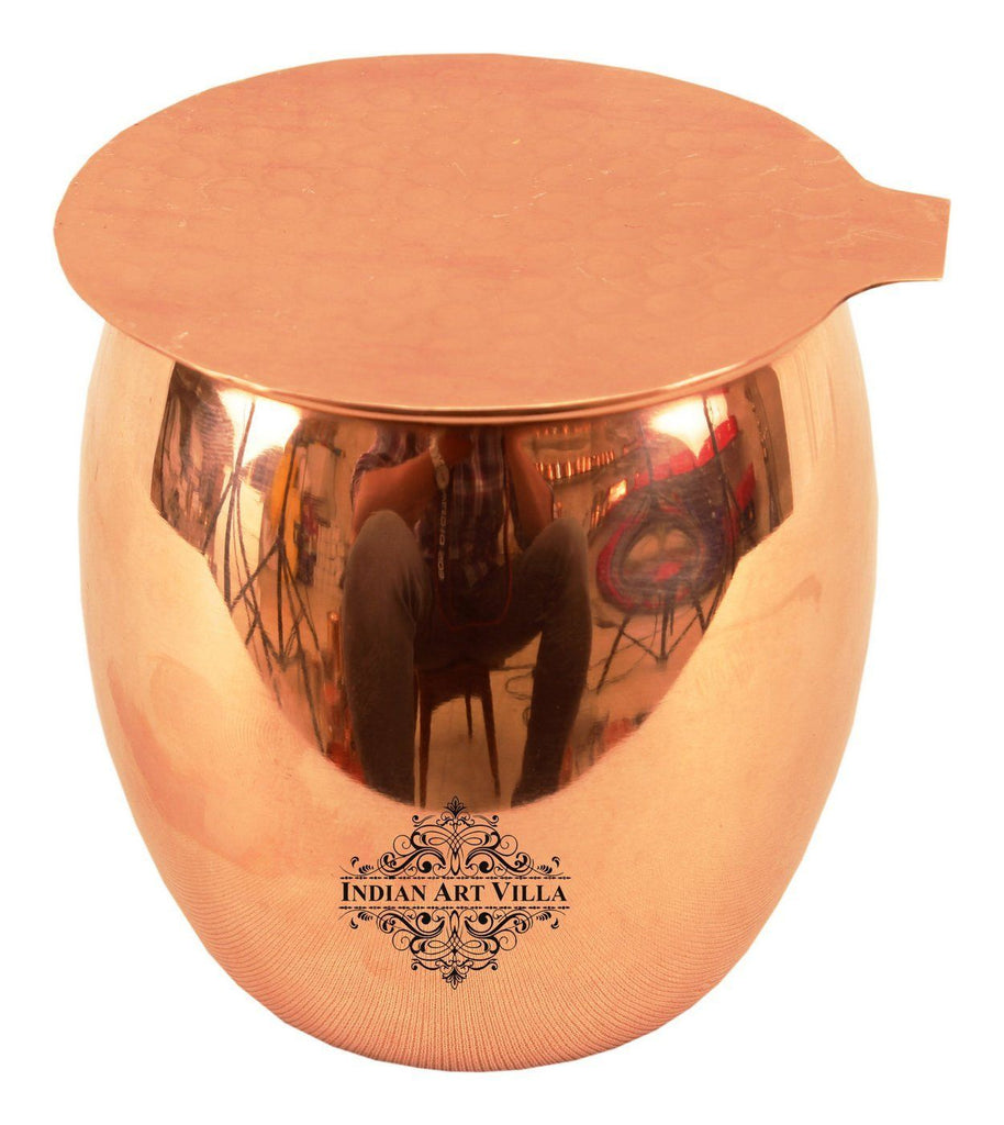 Copper Round Plain Glass Tumbler Cup with Coaster | 590 ML Copper Ware Drink Ware Combo Indian Art Villa