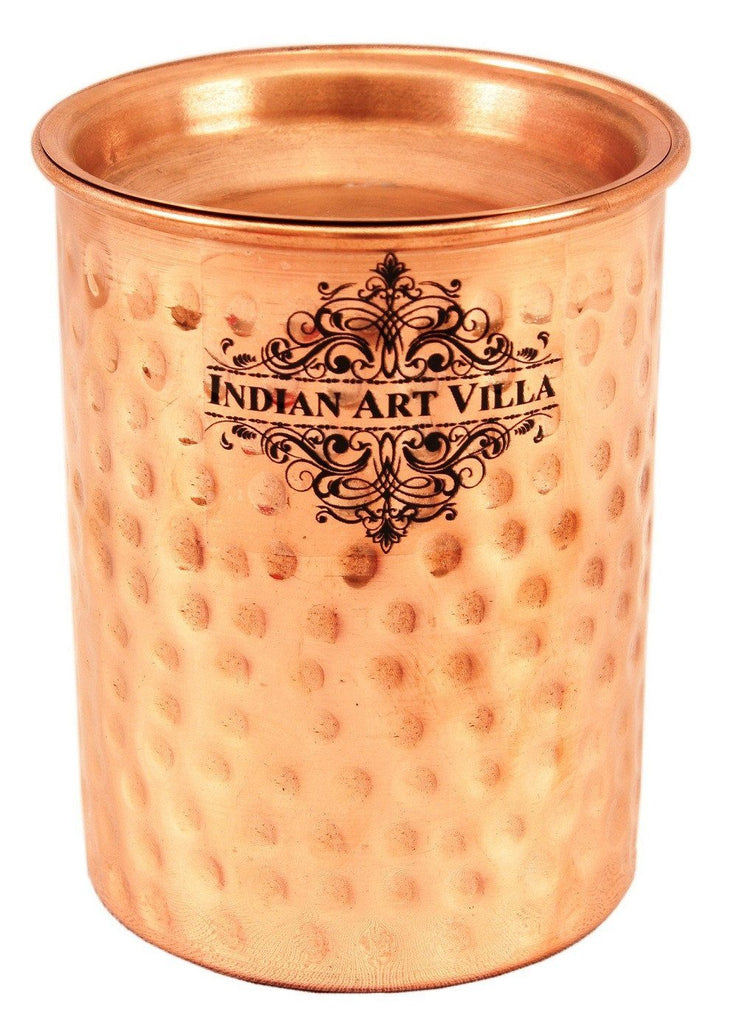 Copper Small Hammered Glass Tumbler Cup with Lid | 250 ML